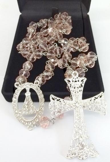 Terço De Noiva Rosa Cristal De Vidro Rose Banho De Prata