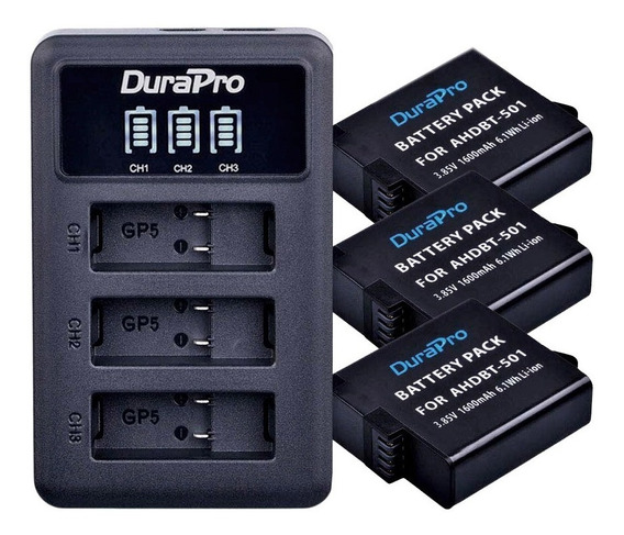 Carregador Triplo +3x Bateria Gopro Hero 5 6 7 Black Durapro