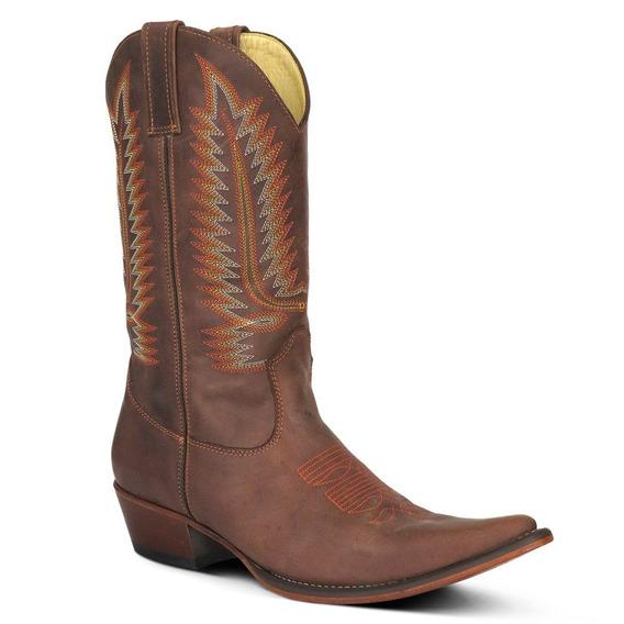 Bota Country Texana Bico Fino Couro Fóssil Masculina 36-45