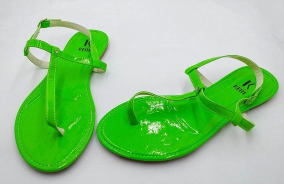 Sandália Rasteirinha Neon Na Cor Verde Limão
