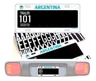 Chapa Patente Trailer 101 Letras Adhesivas Rapida