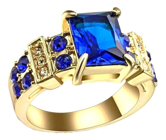 Anel Feminino Cristal Safira Azul Banhado Ouro 225 P
