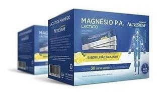 Magnésio P.a. Lactato 30 Sachês Limão Siciliano - 3 Caixas