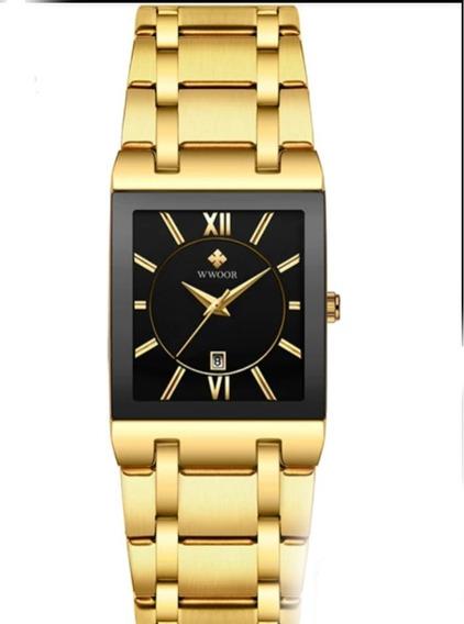 Relógio Masculino Wwoor 8858 Luxo Aço Inoxidável