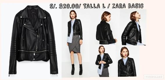 Casaca Biker Cuero Piel Zara Basic Talla L