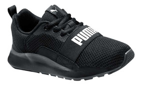 Tenis Casual Puma Wired Ps Negro Niño 182511 Original Nuevo