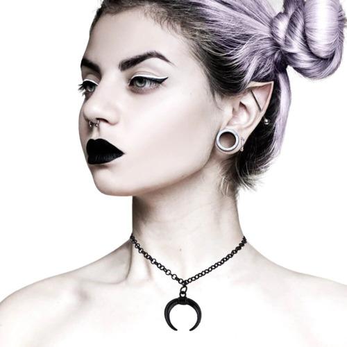 Collar Media Luna Cadena Mujer Colgante