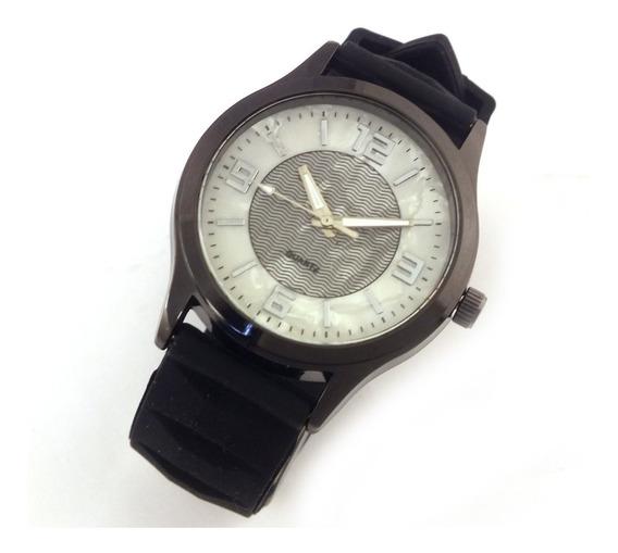 Relógio Feminino Quartz Com Pulseira Preto Em Borracha B5627