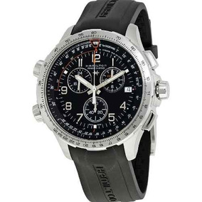 Relogio Hamilton H77912335 X-wind Gmt Black Borracha Crono