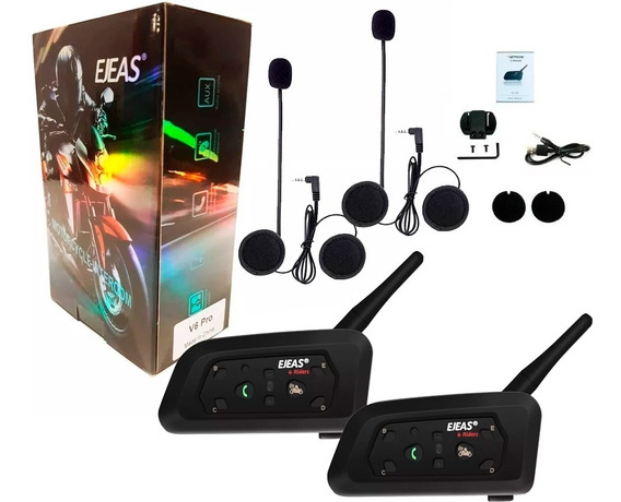 Pack 2 Intercomunicadores Bluetooth Casco Moto V6 1200m Cuot
