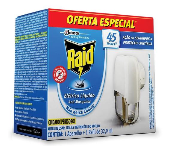 Repelente Raid Eletrico Liquido Anti Mosquitos 45 Noites
