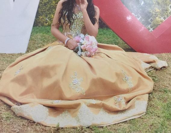 Hermoso Vestido De Xv Años Dorado Con Piedreria