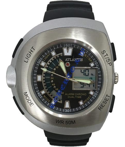 Relógio Masculino Atlantis Analógico Digital De Borracha