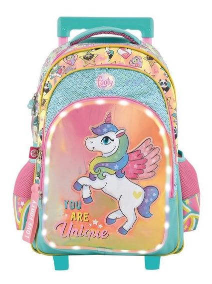 Mochila Footy Unicornio Con Luz Con Carro 18p