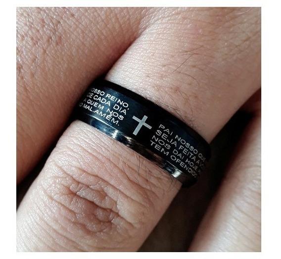 Anel Oração Pai Nosso Masculino Feminino Aço Inox Preto M728
