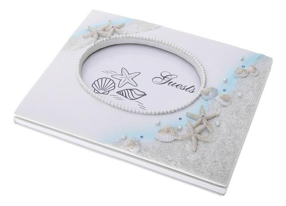 Ocean Style Resina Scallop Starfish Assinatura Livro De Assi