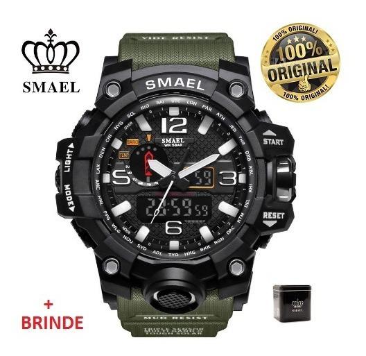 Relógio Esportivo G.chock Smael Mod1545 Verde Militar Tático
