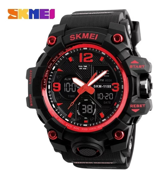 Relógio Masculino Skmei 1155 Black Red Dual Time Fret Grátis