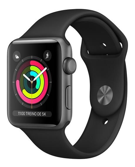 Apple Watch Series 3 Gps - 42mm - Caixa Cinza-espacial De Alumínio Com Pulseira Esportiva Preta