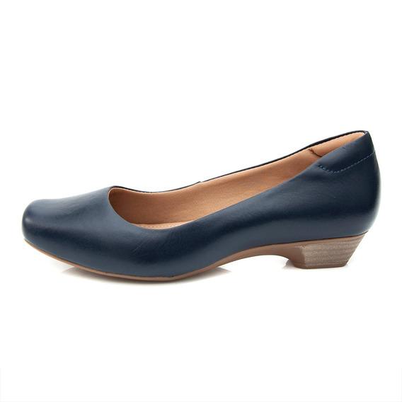 Sapato Pattini Confort Em Couro Salto Baixo Azul Marinho