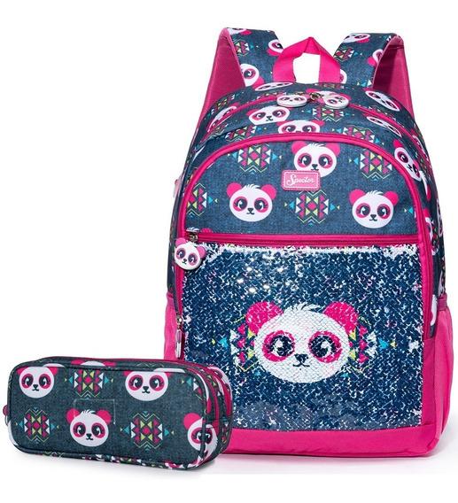 Kit Escolar Mochila De Costas Estojo Panda Infantil Meninas