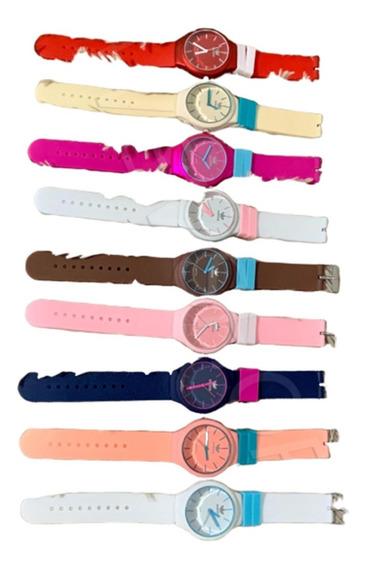 Kit C/5 Relógios Colorido Feminino Masculino Barato+caixinha
