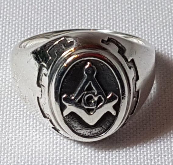 Anel Com Simbolo Da Maçonaria Em Prata Numero 25