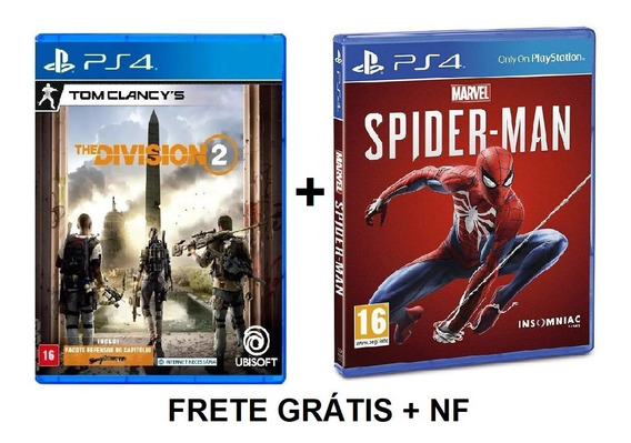 Spider Man + Tom Clancys The Division 2 Lacrado Ps4 + Nf