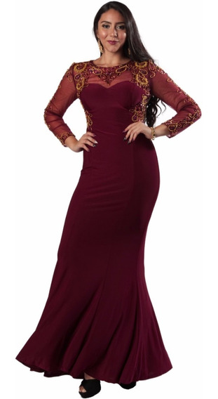 Vestido Fiesta Largo De Noche 3012s8 - Vino