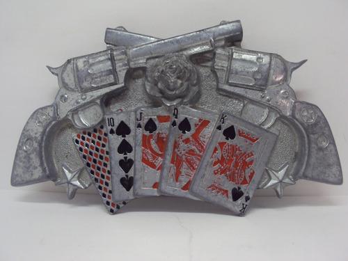 Imagen 1 de 10 de Un Joya , Hebilla Vaquera Guns And Roses And Cards Año 2003