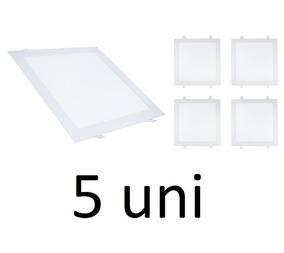 Kit 5 Painel Plafon Luminária 25w Led Quadrado Embutir 6000k
