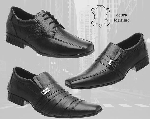 Kit 3 Pares Sapatos Sociais Masculinos Couro Legitimo 01