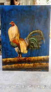Hermoso Cuadro 1.20 X .90 Pintura De Gallo Sobre Tela Oleo