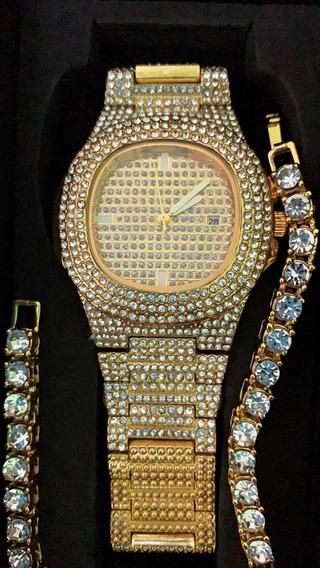 Relógio Cravejado Hip Hop