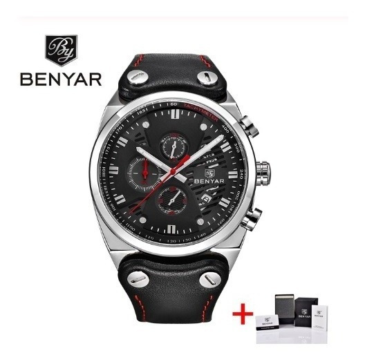Relógio Benyar Preto Masculino Luxo Esportivo Analógico