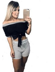 Conjunto Cropped Malha Crepe Feminino Shorts Suplex