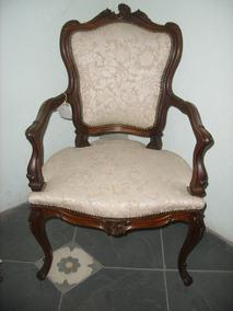 Cadeira Poltrona Ricamente Esculpida Em Jacaranda Antiga