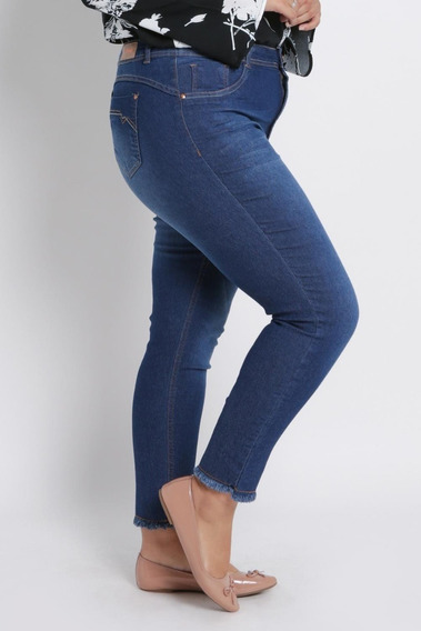 Calça Jeans Feminina Plus Size Cropped Biotipo Azul