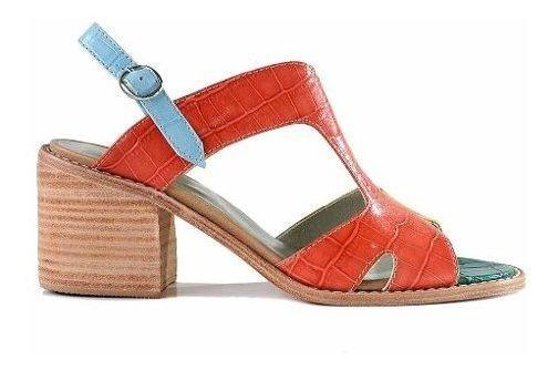 Sandalia Cuero Mujer Briganti Zapato Taco Suela Mcsd04793 45