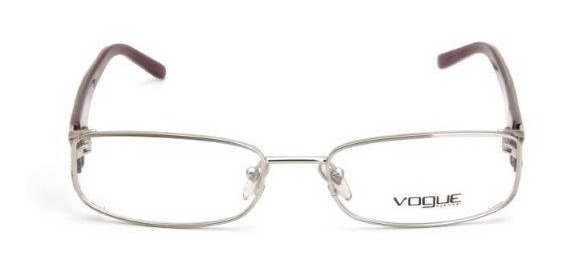 Oculos De Grau Feminino Vogue Quadrado Metal Prata