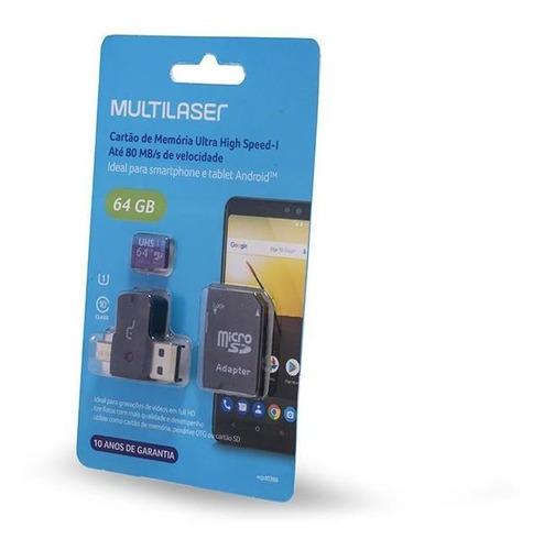 Cartão De Memória  Adaptador Usb Dual Drive Sd 64gb 80 Mb/s