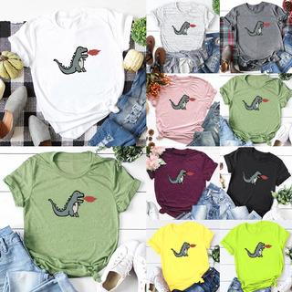 Mujeres Tamaño Pluse T-shirt Animal Dinosaurios De Dibujos