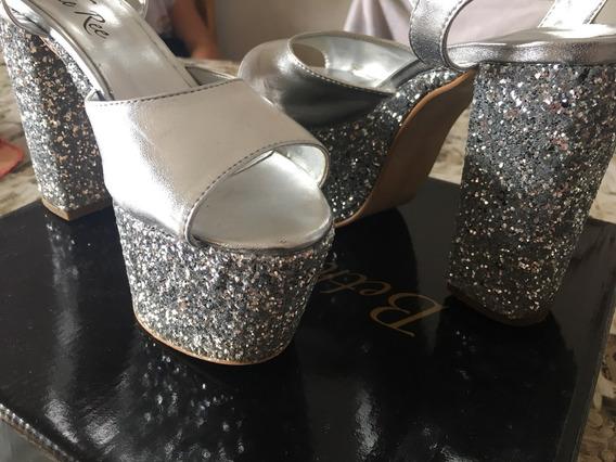 Zapatos Con Brillos Plateados