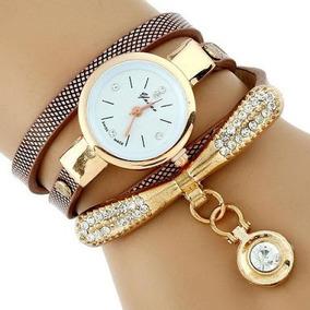 Relógio Feminino Dourado, Pulcera De Couro E Brilhante