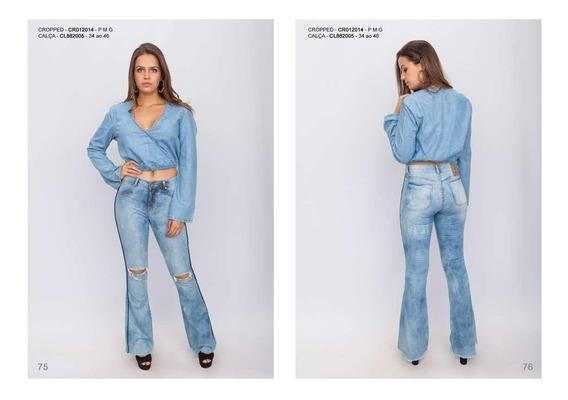 Blusa Cropped Jeans Frente Transpassada Parthenon Femina