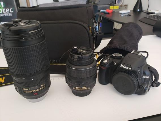 Camera Nikon D3100 Com Lente 18-55 E Lente 70-300 Vr + Bolsa