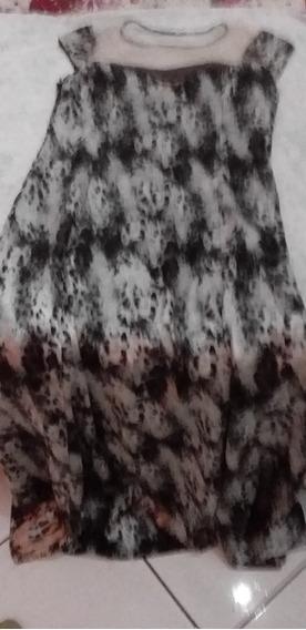 Vestido Longo Em Seda Com Detalhe Em Tule Zíper Lateral M