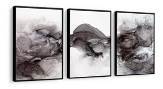 Quadro Decorativo Abstrato Nuvem Preta Formas Decoração Sala