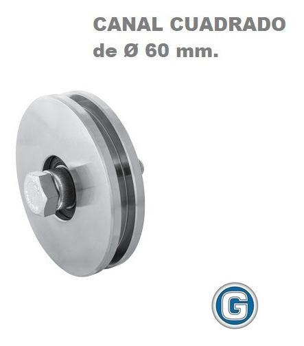 Rueda Acero Canal Cuadrado 60 Mm Con Ruleman Portón Granero