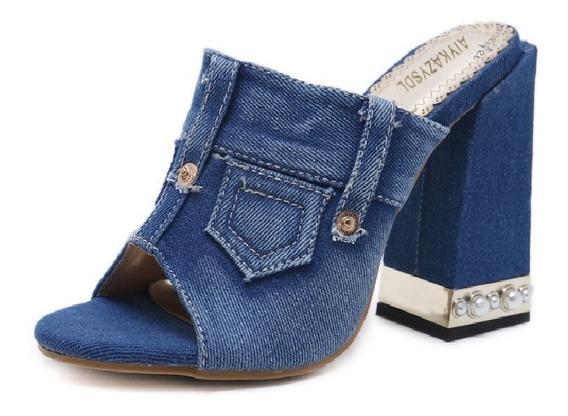 Sapato Feminino Tamanco Sandália Salto Alto Grosso Jeans